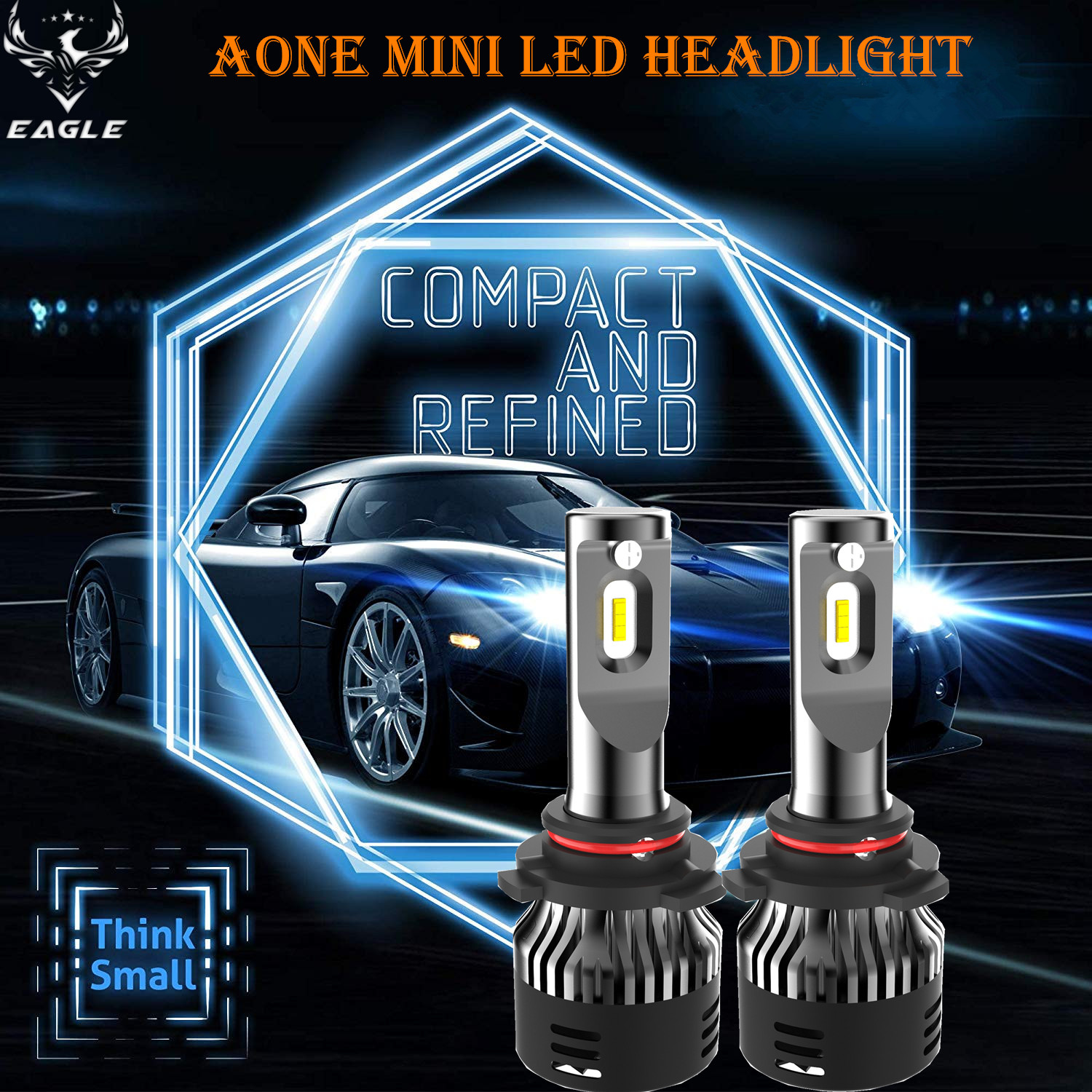 Aone Mini LED Headlight 9005 9006 H10 30W/5000lm LED Auto Bulb 6500K