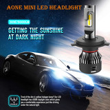 Aone Mini LED Headlight H4 30W/5000lm LED Auto Bulb 6500K